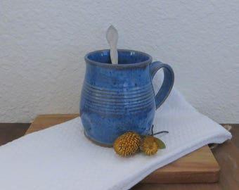 Mug Cup - Handmade Stoneware Ceramic Pottery - Indigo Blue - 16 ounce