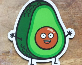 "Avocado Magnet / Avocado Magnets / Happy Avocado / Food Magnet / Die-cut Magnet / Fridge Magnet (2.89"" x 3"")"