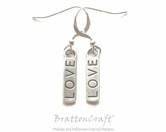 """LOVE Earrings - Sterling Silver """"LOVE"""" Earrings - Sterling Silver Valentine Earrings - Valentine Earrings"""