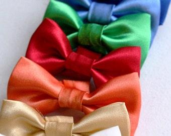 Wedding Dog Bow Tie, Wedding Cat Bowtie Satin Formal Black Red Green Blue Gold