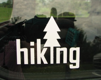 Hiking vinyl graphic car window decal. Hiking. Hike. Car bumper sticker. Hiking sticker. Hiking decal. Hiking gear. Hiker.  Backpacking. Fun
