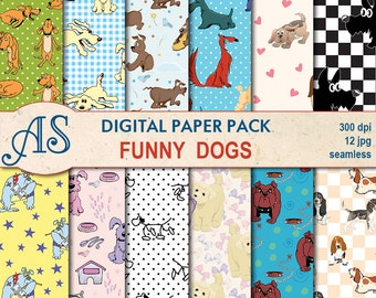 Digital Funny Dogs Seamless Paper Pack, 12 printable Digital Scrapbooking papers, pets puppy Collage, kids clipart, Instant Download, set 42