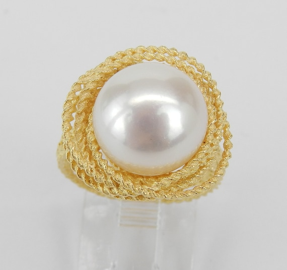 14K Yellow Gold 11.5 mm South Sea Pearl Solitaire Engagement Ring Size 6.75