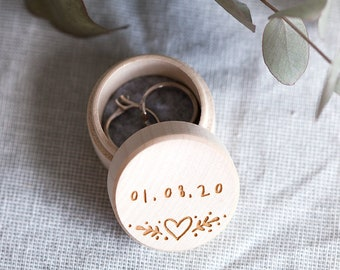 Personalised Wedding Day Ring Box - Wooden Heart - Engagement - Wedding Date - Ring Box Wedding - Rustic Wedding - Jewellery Box - Vintage