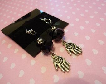 Hand Black Crystal Beaded Dangle Earrings