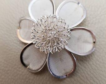 Vintage Silver Flower Mesh Brooch