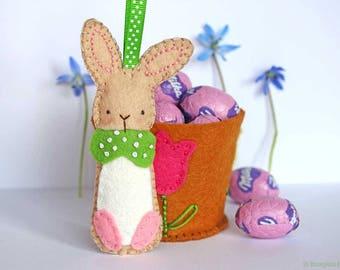 Flower Pot Bunny - Easter Bunny Felt Ornament Pattern - PDF Instant Download