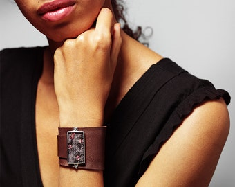 Soft Brown Leather Cuff with Sequined Silk behind Glass by Shi Studio