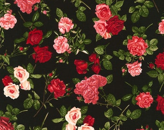 Allover Roses, Rose Garden, Timeless Treasures Fabric, C5814 Black, Red, Pink, Roses Fabric, Cotton Quilt Fabric, Floral, Fabric By the Yard