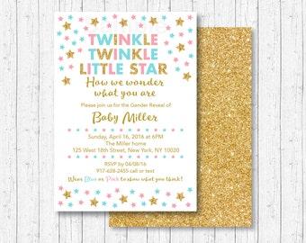 Twinkle Twinkle Little Star Gender Reveal Invitation / Twinkle Star Gender Reveal / Gender Reveal Party / PRINTABLE A206