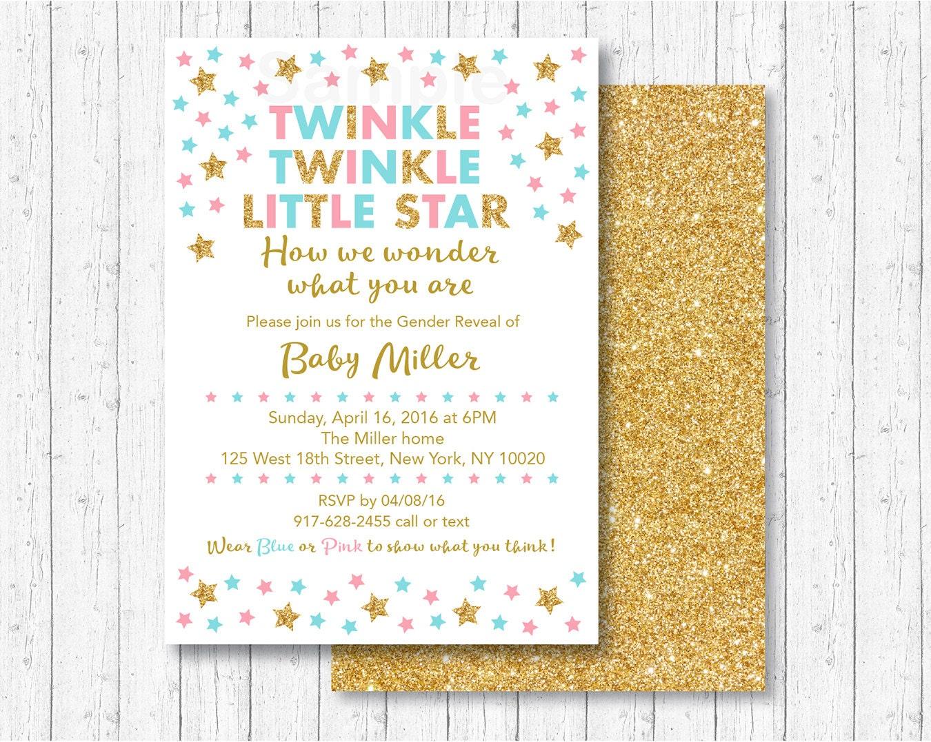 Twinkle Twinkle Little Star Gender Reveal Invitation / Twinkle