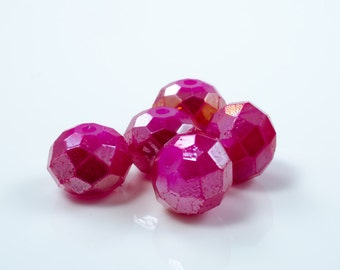 Cranberry Pink AB Faceted Crystal Rondelle Beads