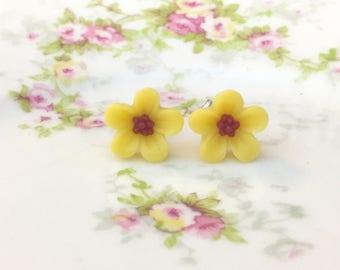 Yellow Daisy Studs, Yellow Flower Earrings, Small Yellow Flower Studs, Surgical Steel Studs, KreatedByKelly