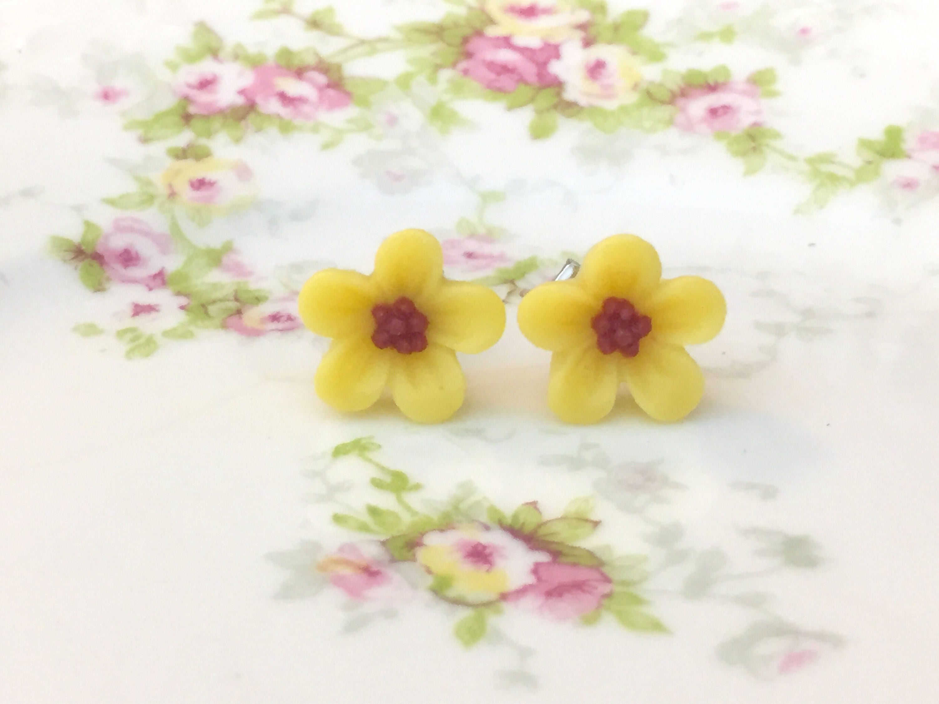 Yellow Daisy Studs Yellow Flower Earrings Small Yellow Flower