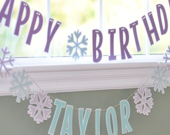 Snowflake Birthday Banner - Winter Birthday Banner - Winter Wonderland - Penguin Party - Snow Party