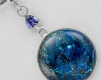 Very Beautiful Shattuckite (Crystalpedia) and Tanzanite Necklace, 925 Silver, One of a Kind