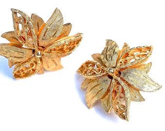 High End Coro Earrings, Signed Francois Clip Ons for Non Pierced Ears, Gold Tone Flowers, Signed Vintage Coro Jewelry