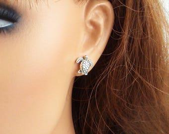 Silver turtle earrings - surgical steel, nickel free and lead free ear posts. Dainty small turtle post stud earrings