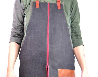 FULL ZIPPER VERTICAL Denim Leather Apron