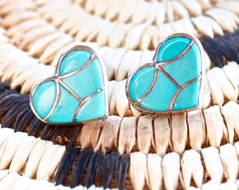 Native American, Zuni Vintage Sterling Silver Turquoise Inlay Heart Earrings