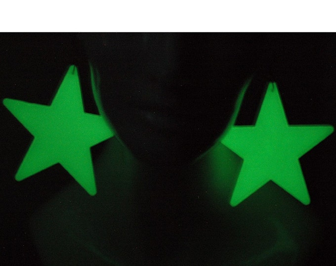 Glowing Star Earrings Large Size Raver Cyber Jewelry  Handmade Christmas Gift Patriotism Fun Gift For Fireworks Ready to Ship