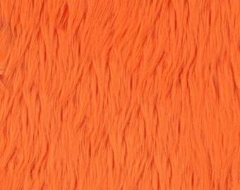 Orange Shaggy Luxury Faux Fur Fabric by the yard