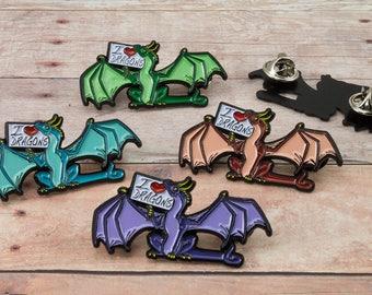 I love dragons soft enamel pin by Nina Bolen Original fantasy art Collectable pin