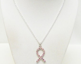 Pink Rhinestone Ribbon Pendant Necklace