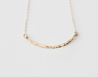 14k Gold Filled Curved Bar Necklace - Hammered - Hand Forged