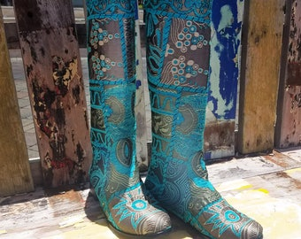 Woman's Handmade Embroidered Boots with Leather lining and Leather Sole. Handmade Leather Boots. Size 8.