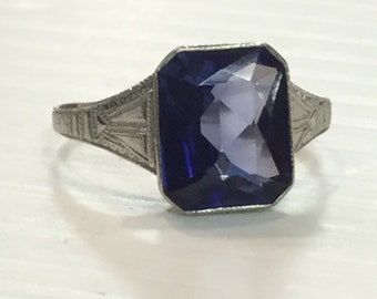 Vintage Art Deco 10k White Gold Simulated Sapphire Size 7.75
