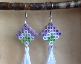Quilling with cotton tassel earrings