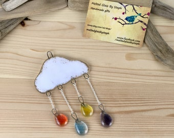 Rain drop and cloud sun catcher-fused glass sun catcher-rainbow rain drops-rain drops and cloud