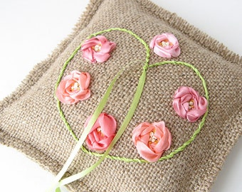 Rustic ring bearer pillow, silk roses wedding pillow, rustic ring holder, ring pillow with heart, wedding ring pillow