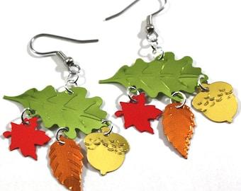 Fall Earrings Autumn Oak Leaves Earrings Falling Maple Leaf & Acorn Dangles Plastic Sequins