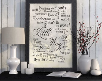 Wedding Song Lyrics Custom Wedding Gift For Newlyweds Husband Wife Bride: Little Wing-Personalized names, date pick colors verse print