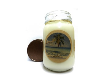 Caribbean Coconut -  16oz Country Jar Soy Candle Approximate Burn Time 144 Hours