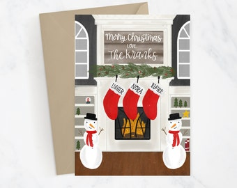 Custom Christmas Holiday Card DIGITAL FILE | Holiday Card | Fireplace Stockings | Family | Personalized Card | Christmas Decor | Snail Mail
