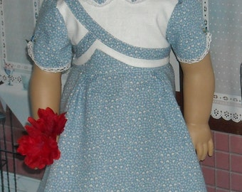 1930s Pale Blue Hearts Dress for 18 inch dolls like Kit and Ruthie