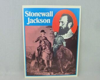 "1974 Thomas ""Stonewall"" Jackson Poster - Confederate Civil War General CSA - w/ Robert E Lee - 10"" x 13"""