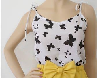 XS - Butterflies Blouse | Cotton Blouse | Vintage Blouse | Tank Top | Designer Blouse | Black and White Blouse | Extra Small Top