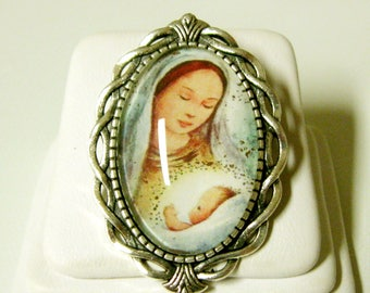 Madonna and child brooch/pin - BR10-062