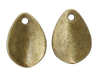 x 6 pendants drops leaf 17 mm antique bronze.