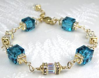 Teal Bracelet, Swarovski Crystal Cube, Gold Filled, Bridesmaids Bridal Gift, Dark Teal Wedding Jewelry, Handmade Something Blue, Mothers Day