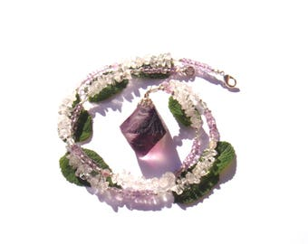Clarity & processing: fluorite, Amethyst necklace and Crystal 50.5 cm neck circumference