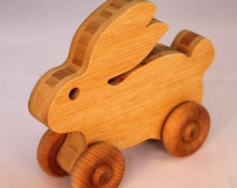 "Wooden Toy ""Bamboo Bunny"" Child Safe, Handcrafted from Reclaimed Bamboo, Eco-friendly by GiggleTree Toys"
