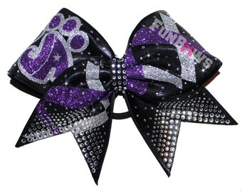 Totally Awesome Custom Rhinestone Cheer bow with your logo - by FunBows !