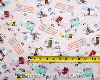 Travel Trailers Teardrop Camper Summer on Pink BY YARDS Timeless Treasure Fabric