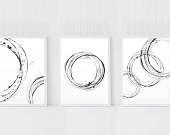 Abstract Art Set, Set of 3 Wall Art, Black White Artworks, Circles Poster, Minimalist Wall Decor, Scandinavian Art, Minimal Printable Art,