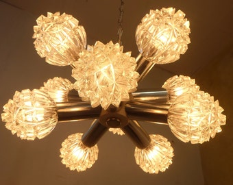mid century modern sputnik orbit CHANDELIER metal and glass